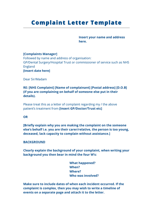 Complaint Letter Template Uk – planner template free