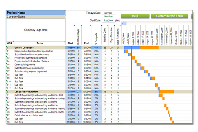 Construction Schedule Template – 7+ Free Word, Excel, PDF Format