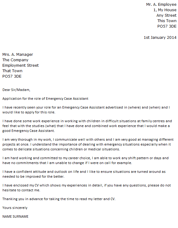 Placement & Work Experience Cover Letter