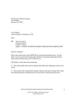 Dispute Letter to Traffic Ticket Collection Agency | Other Files