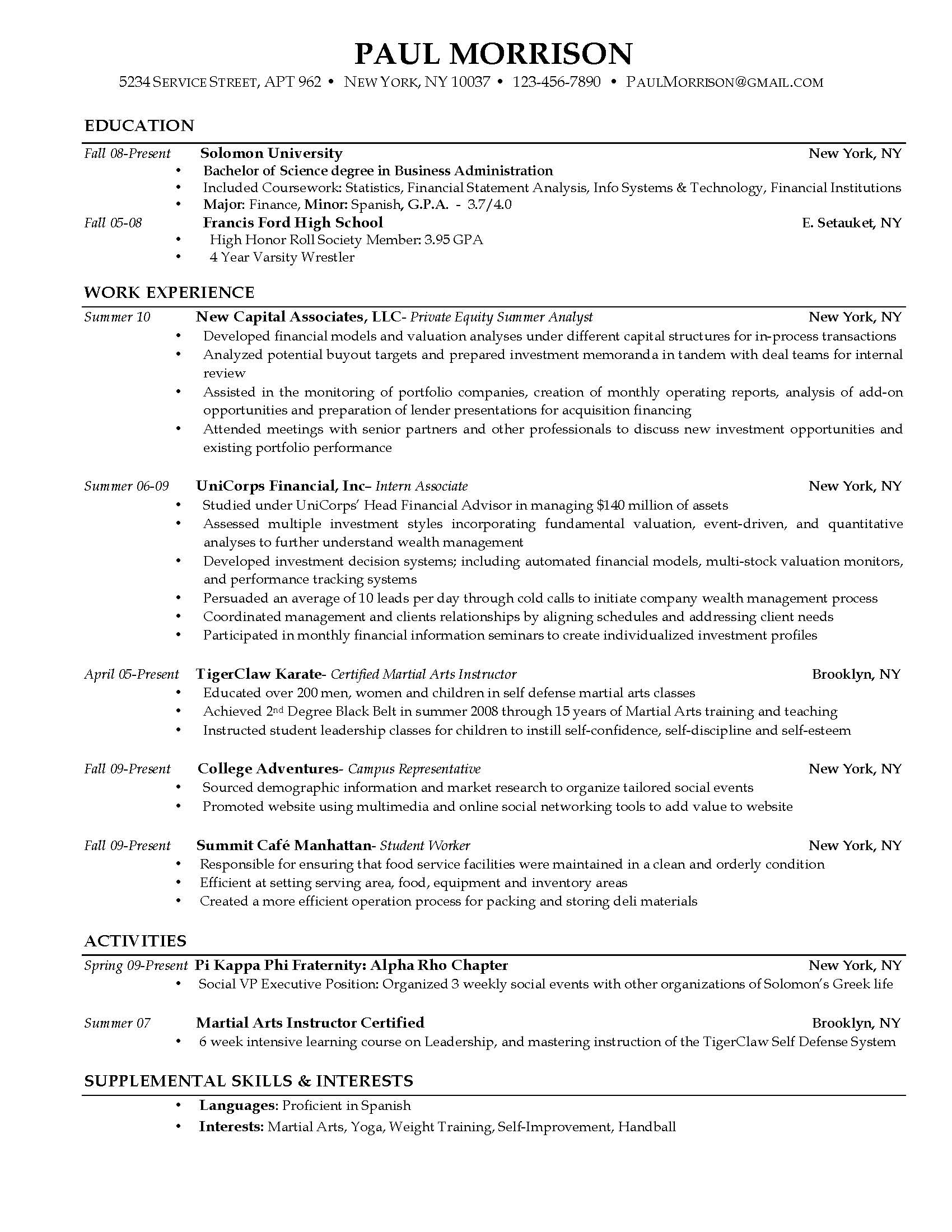 Download College Student Resumes | haadyaooverbayresort.com