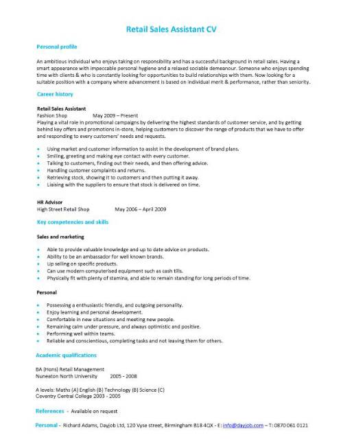Retail Sales Assistant CV