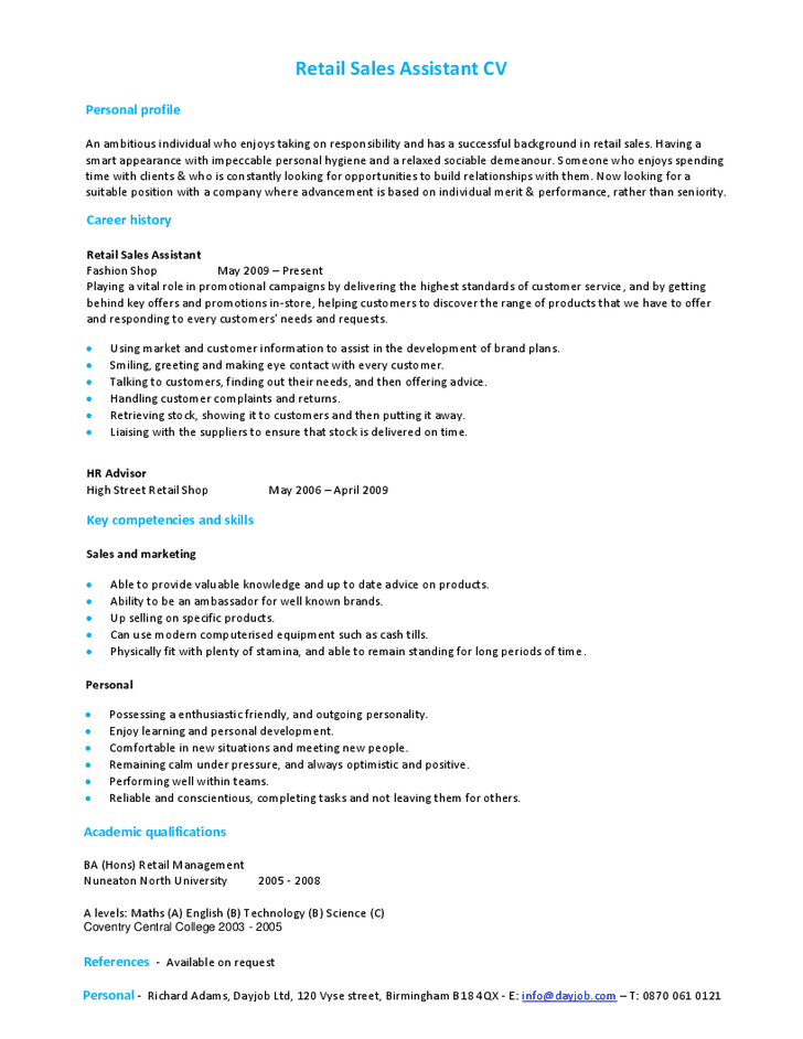 cv for retail sales assistant