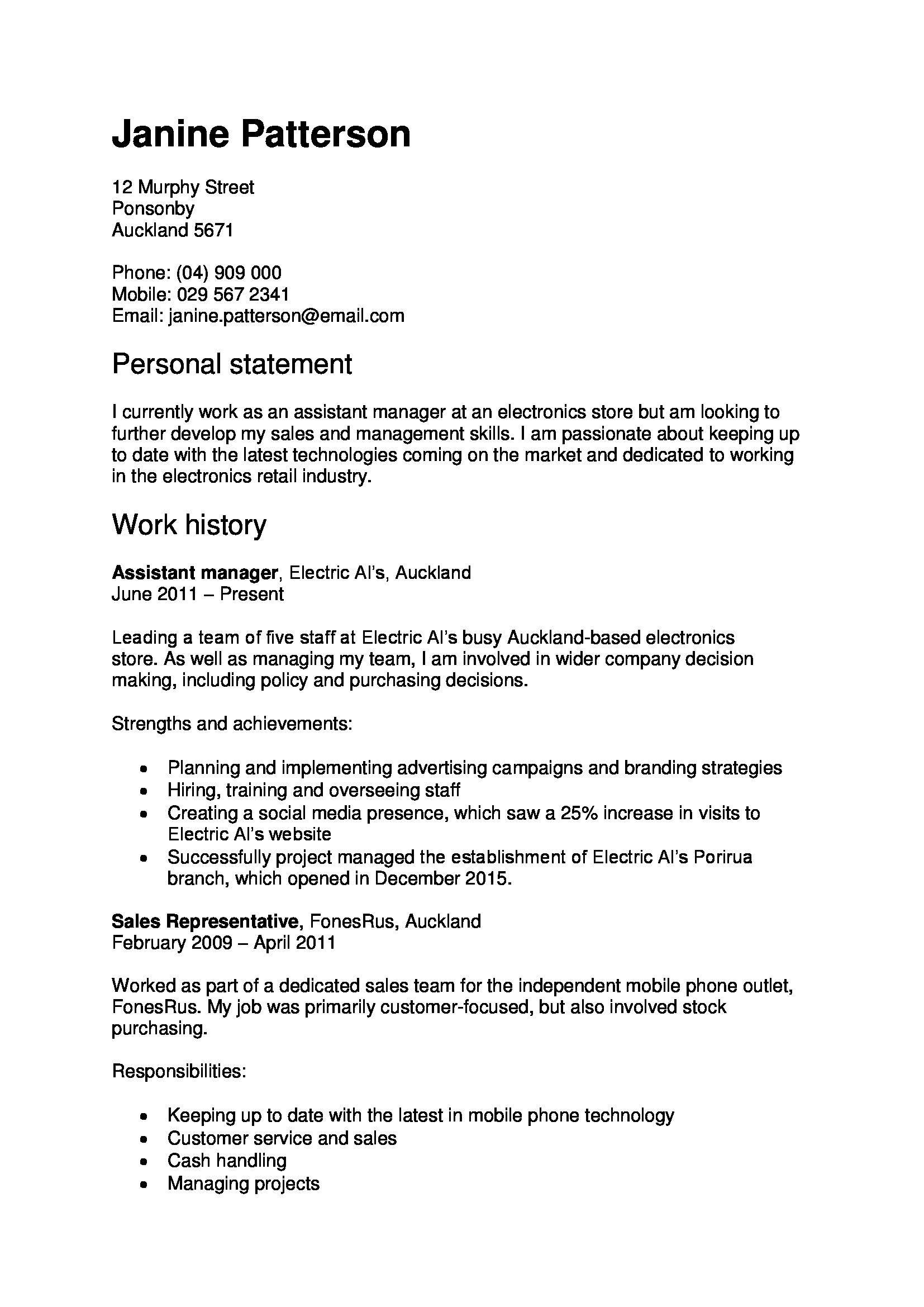 cv template nz for students