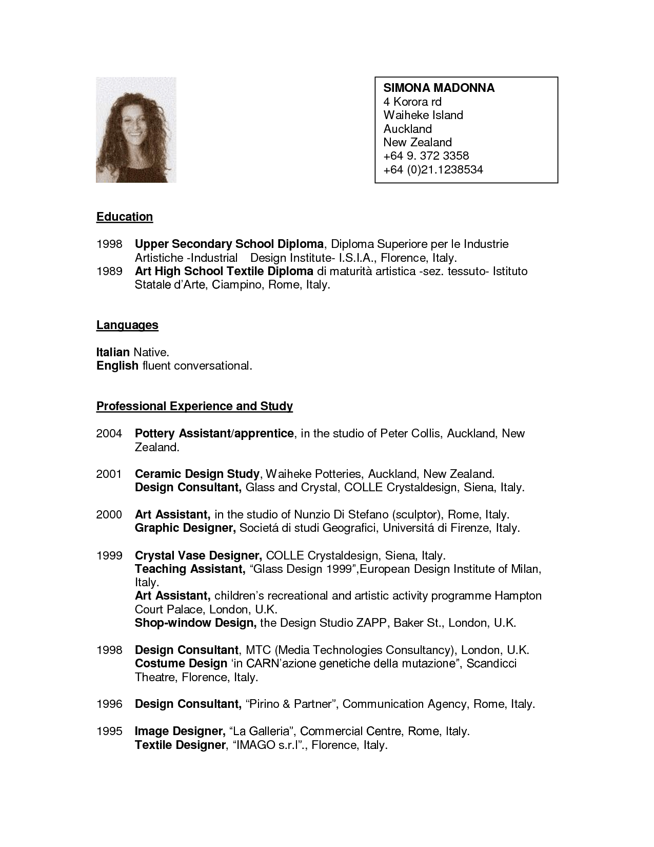 sample new zealand cv