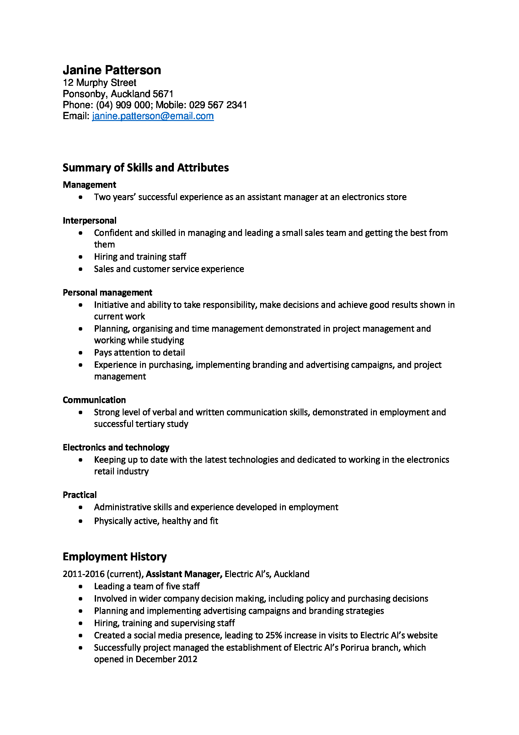 Sample resume new zealand