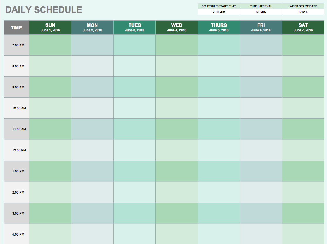 Daily Planner Template Free Printable Daily Planner for Excel