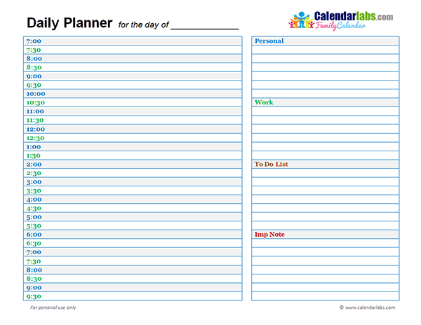 2017 Daily Planner Template Free Printable Templates