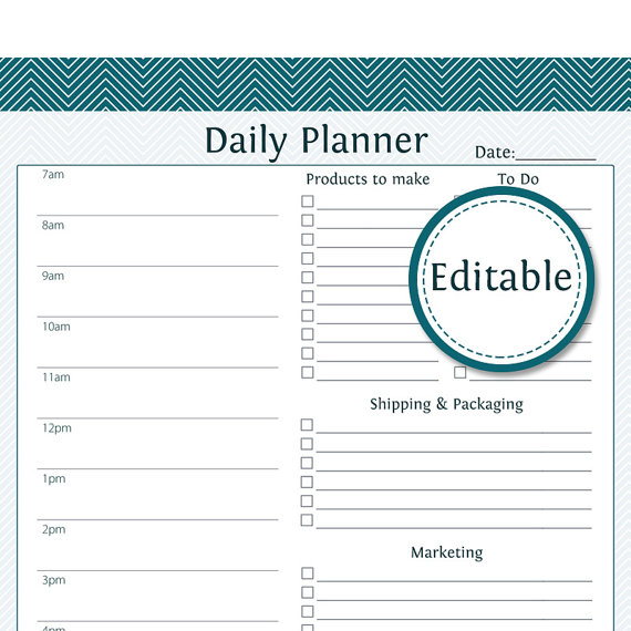 Daily Business Planner Fillable Business Planner