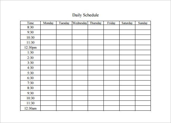 11+ Daily schedule templates Word Excel PDF Formats