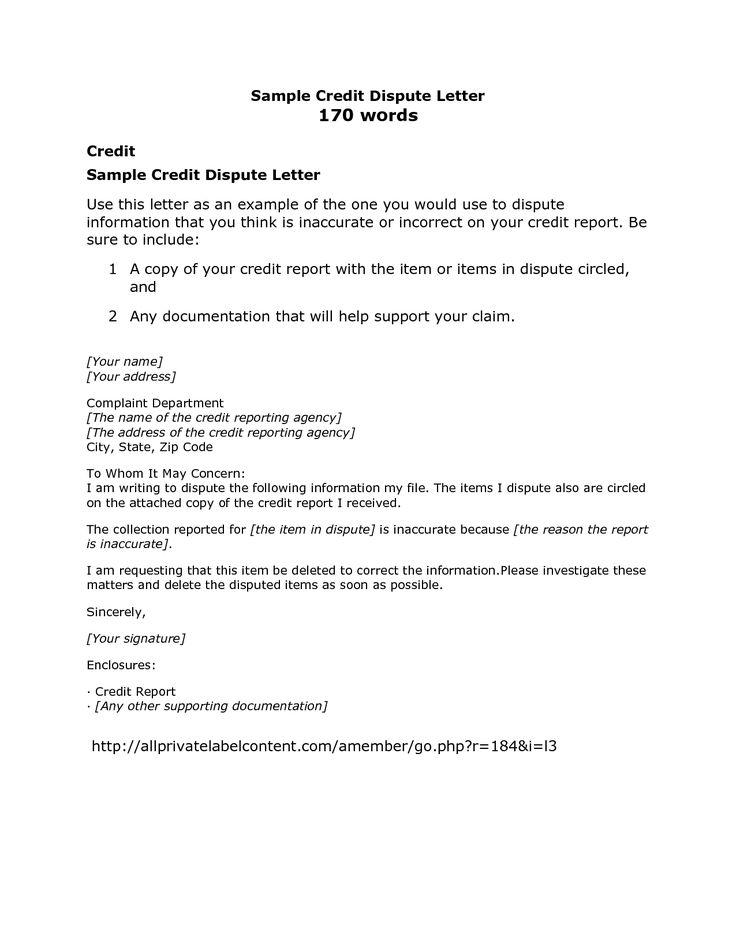 Credit Bureau Dispute Letter | Crna Cover Letter