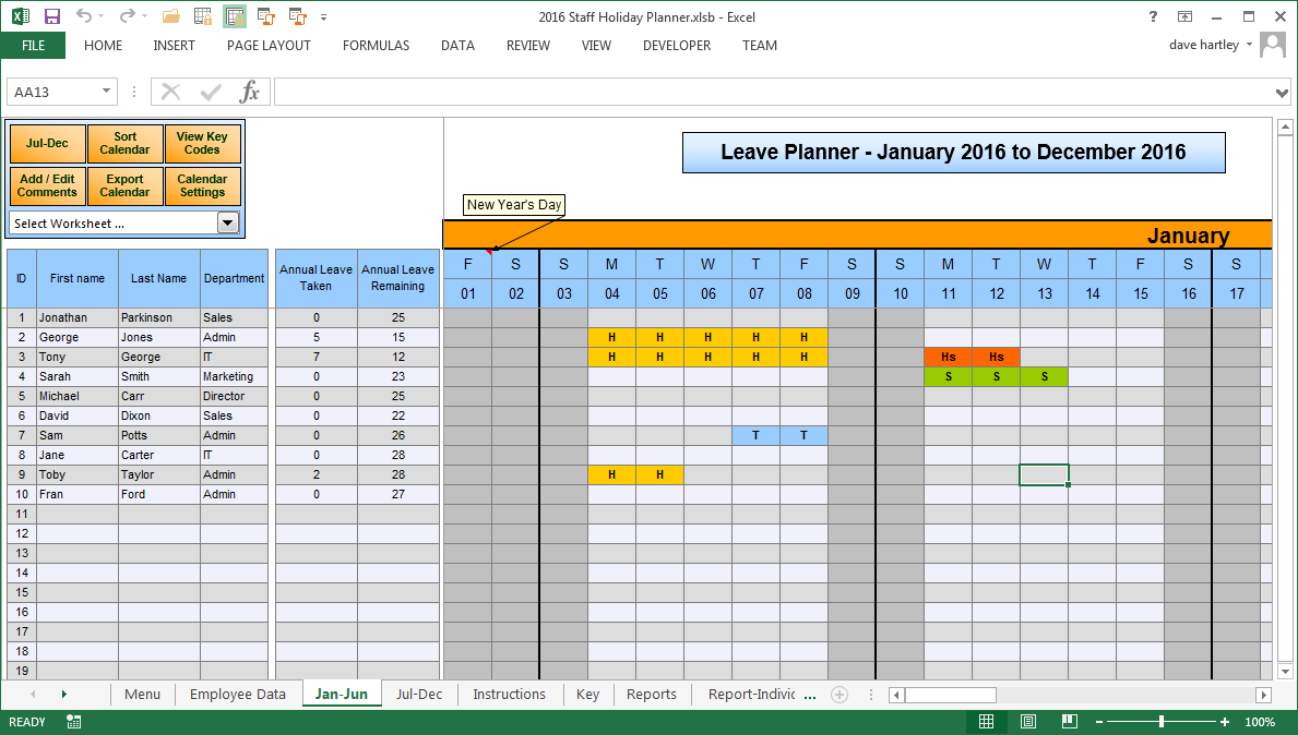 Employee Vacation Planner | Excel Templates | Excel Spreadsheets