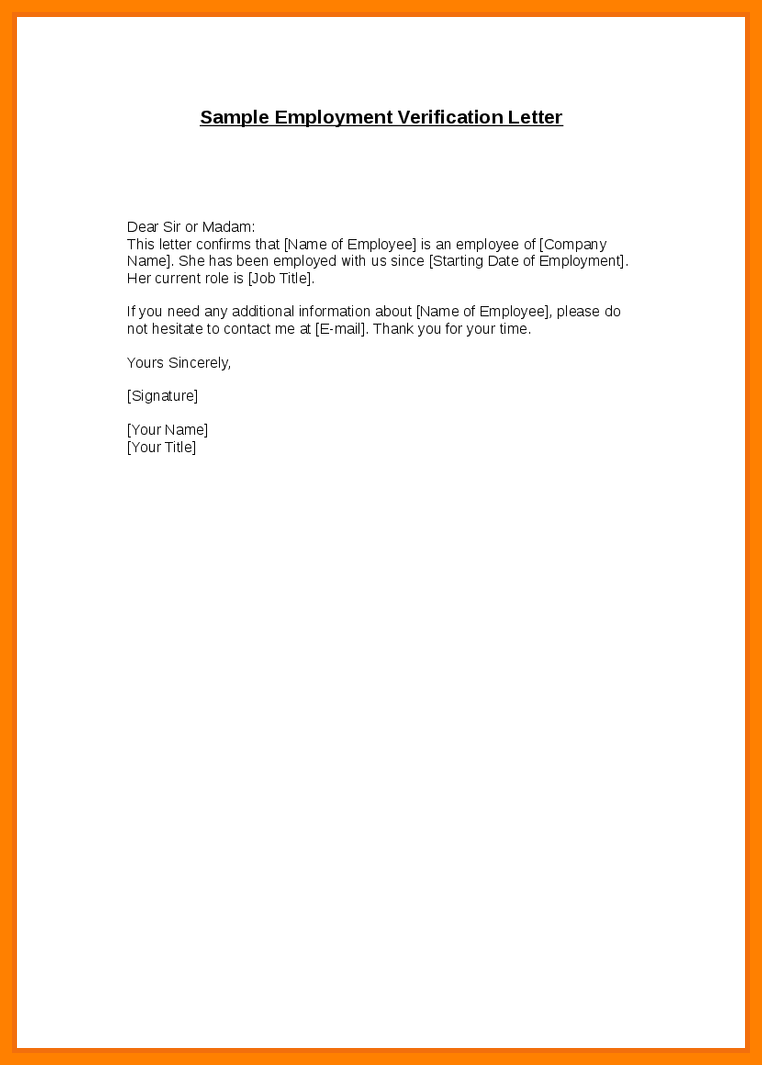 Proof Of Employment Letter Template Doc