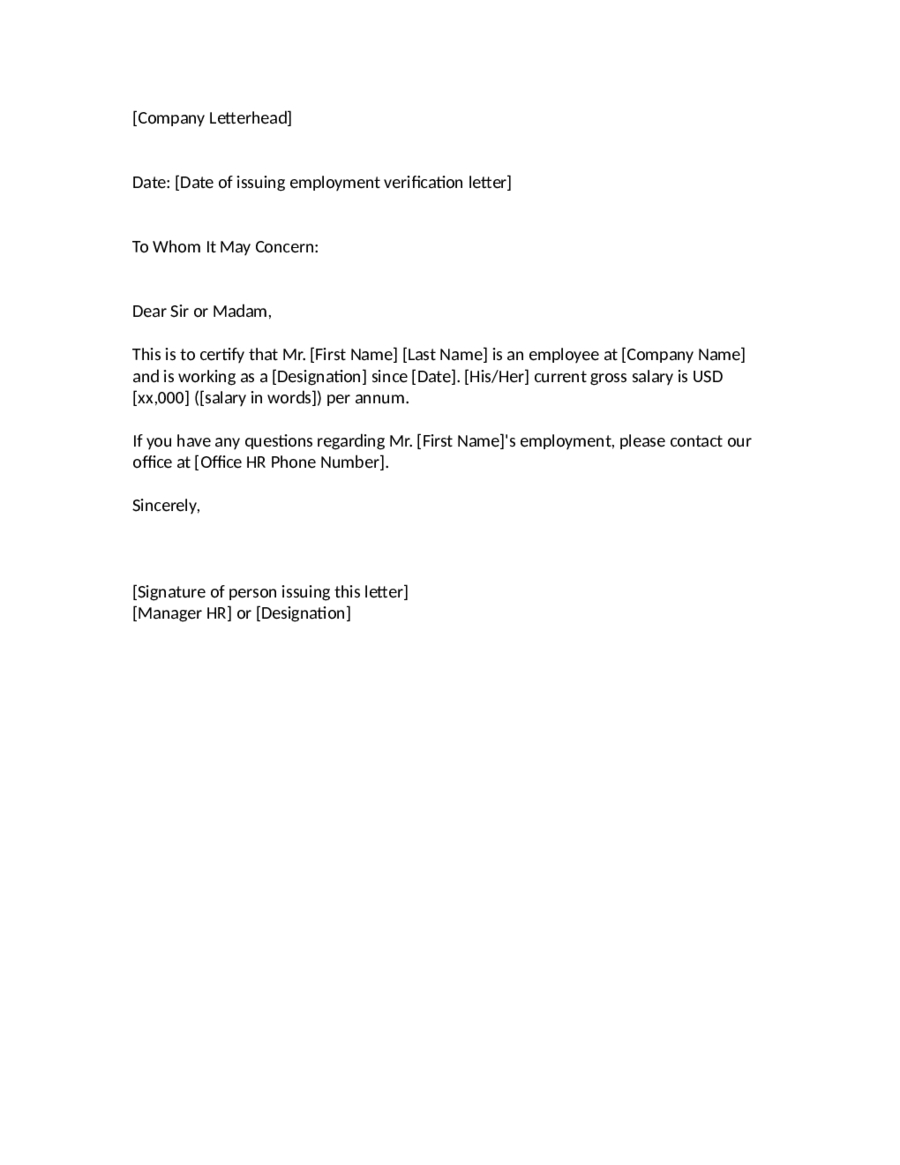 Letter of employment to whom it may concern