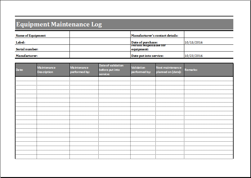 Equipment Maintenance Schedule Template Shefftunes