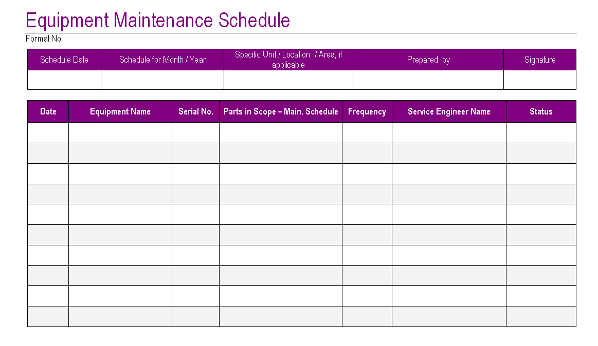 Equipment maintenance schedule template excel planner for Maintenance schedules templates