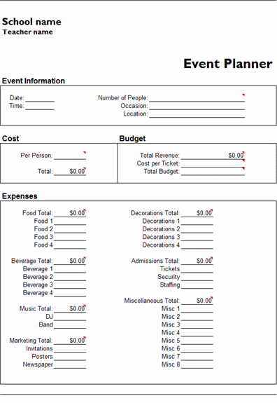 MS Excel Event Planner Template | MS Excel Templates | Ready Made
