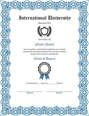 Fake diploma certificate free download planner template free for Certificate of degree templates