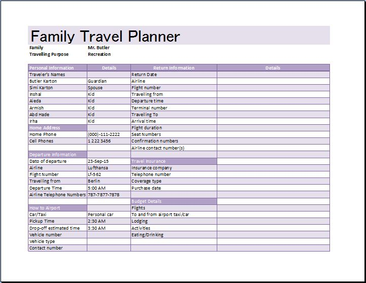 MS Excel Family Travel Planner Template | Word & Excel Templates