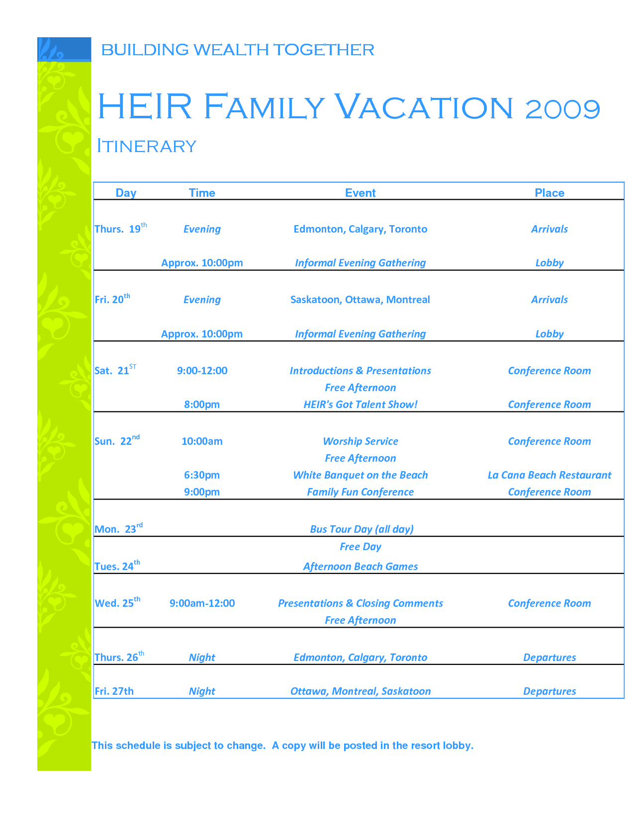 Family Vacation Itinerary Template Sishjrcr | aplg planetariums.org
