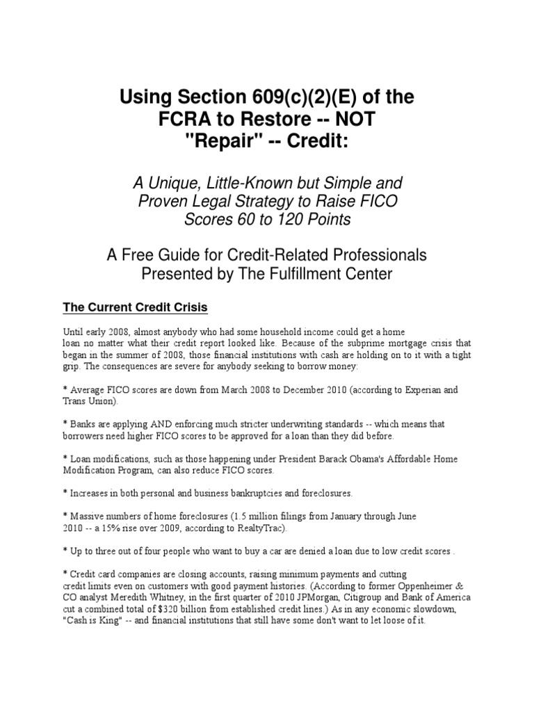 FCRA Section 609 Disclosures to Consumers