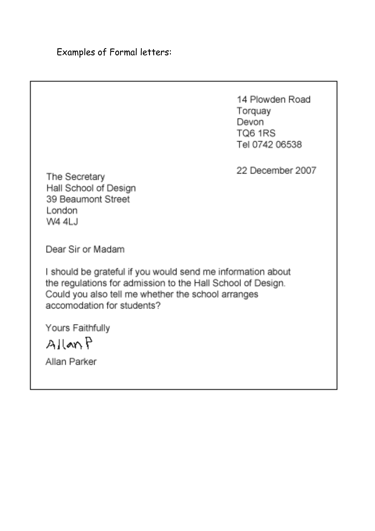 formal letters examples for students  u2013 planner template free