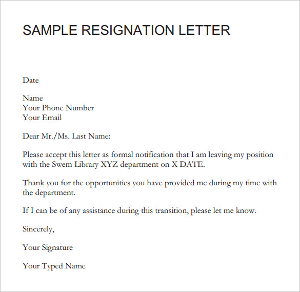 Employment Resignation Letter. Letter Of Resignation Samples