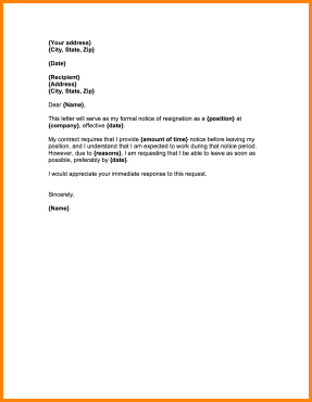 8+ formal resignation letter sample with notice period | receipts