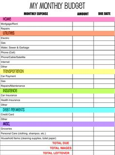 Monthly Budget Template 10+ Download Free Documents in PDF