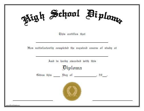 7+ High School Diploma Template Printables!! [FREE]