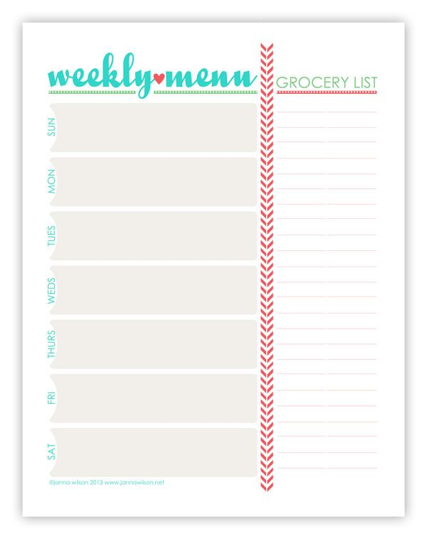 Free Calendars and Planners | Free printable meal planner