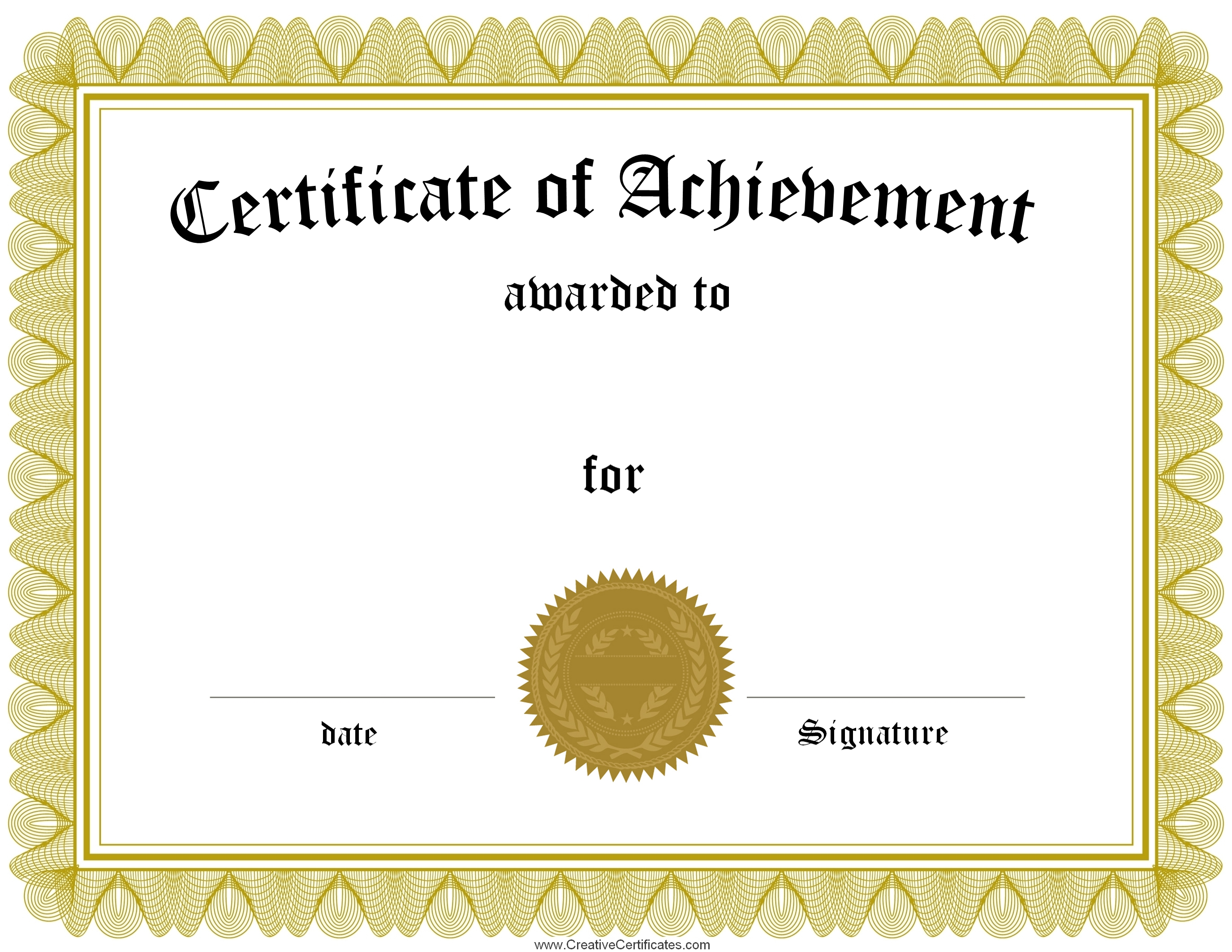 certificate of achievement printable word doc