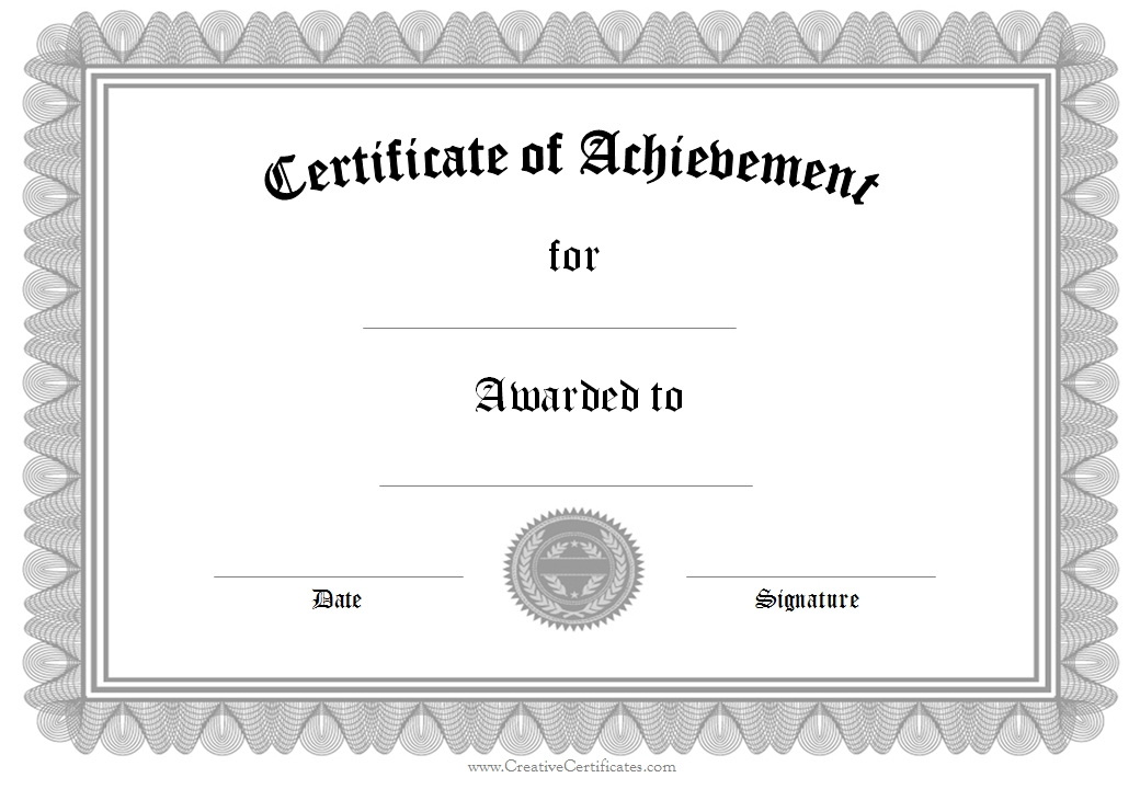 free blank Certificate of Achievement