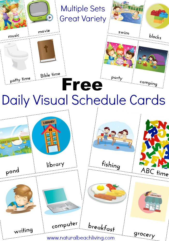 Extra Daily Visual Schedule Cards Free Printables Natural Beach