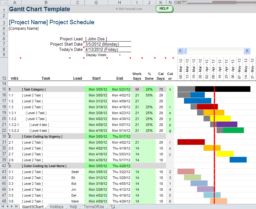 Free Professional Excel Gantt Chart Template | Project Management