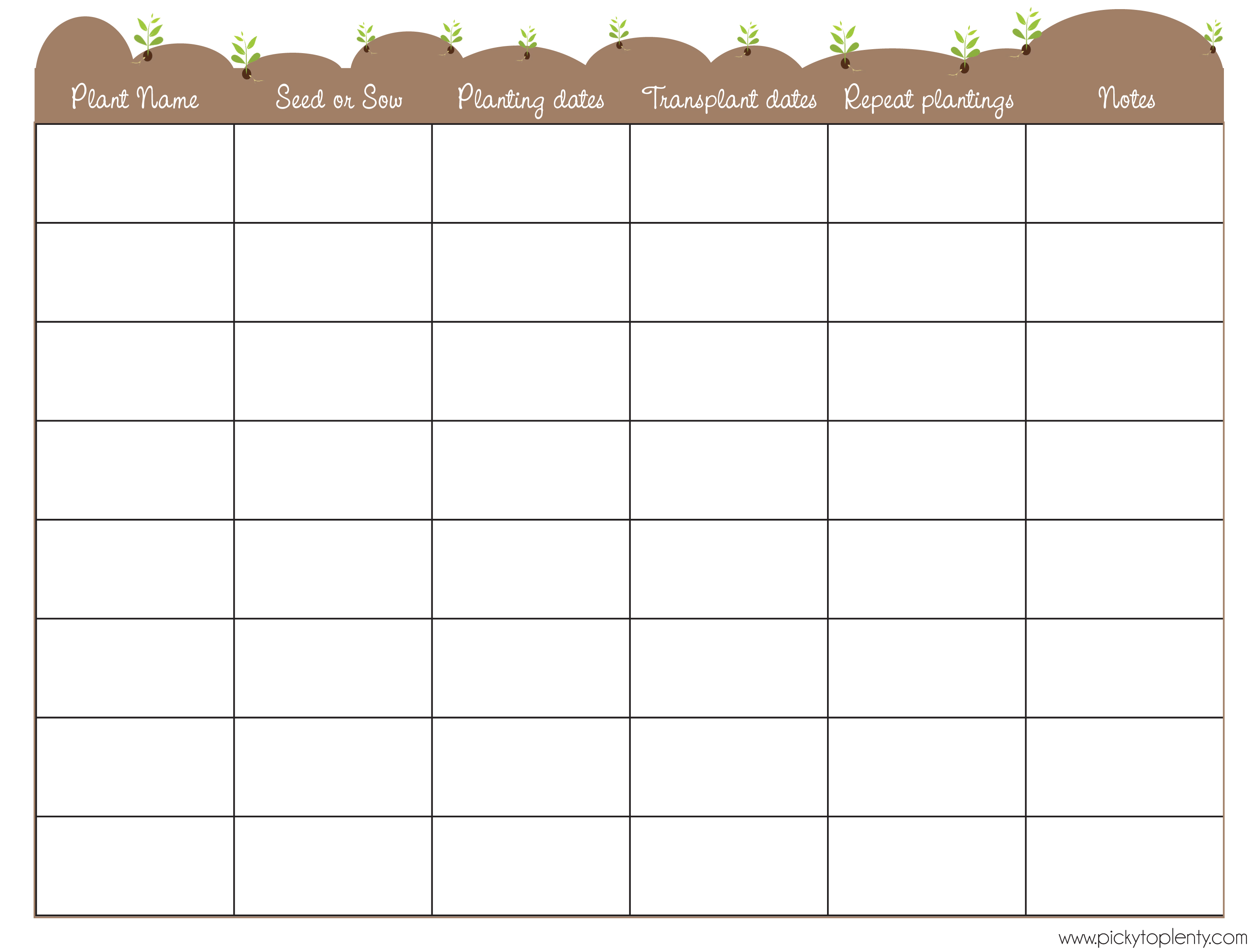 Click On The Thumbnail To Download My Seed Planner Template Garden