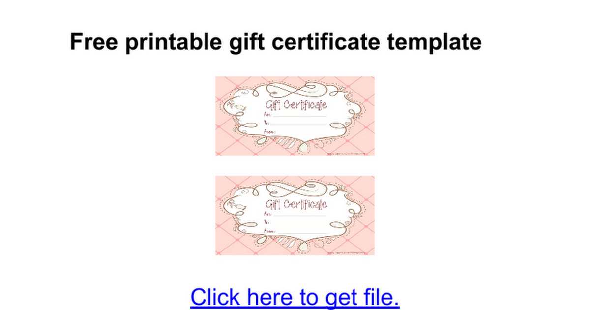 Free Printable Gift Certificates Template