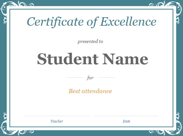 Gift certificate template google docs planner template free for Student certificate templates for word