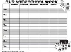 Homeschool Weekly Schedule Template | Homeschool Forms