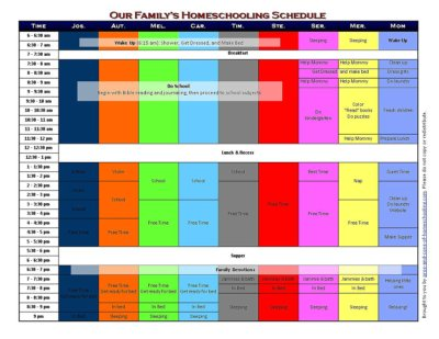 5 Free Printable Homeschool Schedules and Printable Homeschool