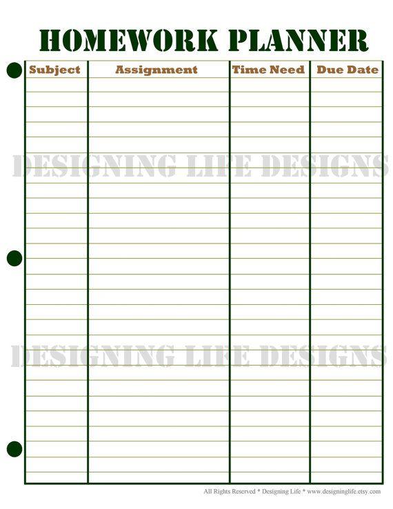 Printable Homework Planner | Homework planner, Homework and Planners