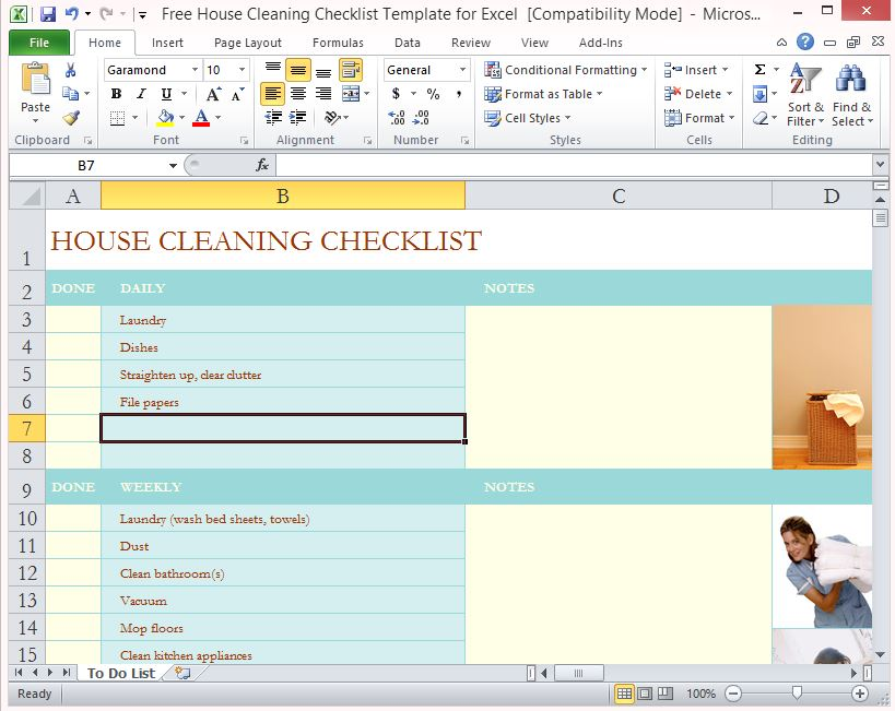 Housekeeping Checklist Format For Office In Excel | xtreme wheelz.com