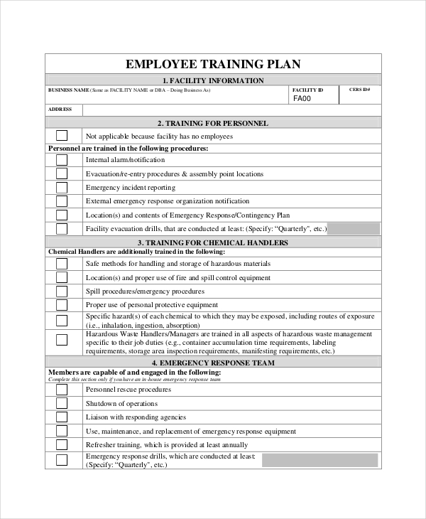 Training Plan 11+ Free PDF, Word Documents Download | Free