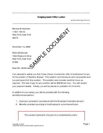 Offer letter format Free Offer Letter Sample