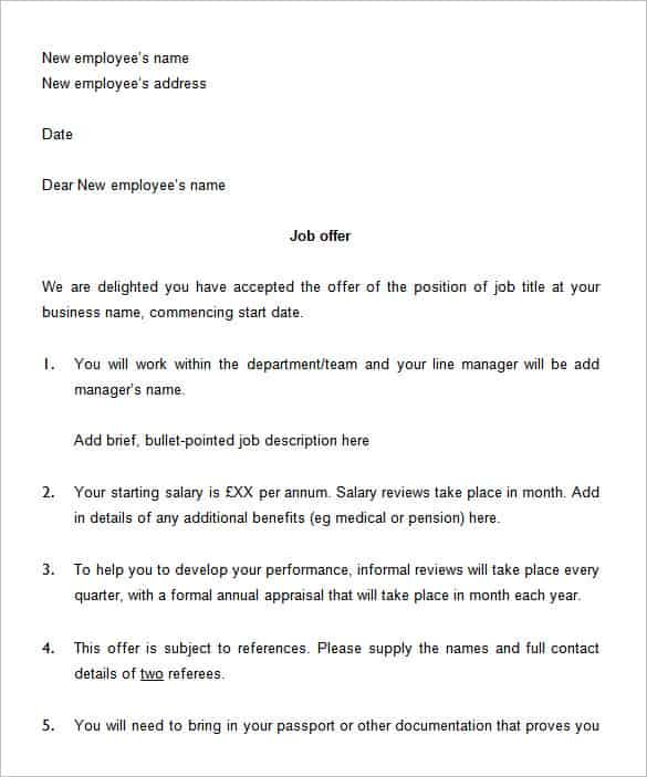 of Employment Letter Create a Job Offer Letter Online