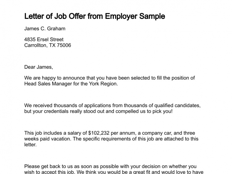 employer letters to job applicants