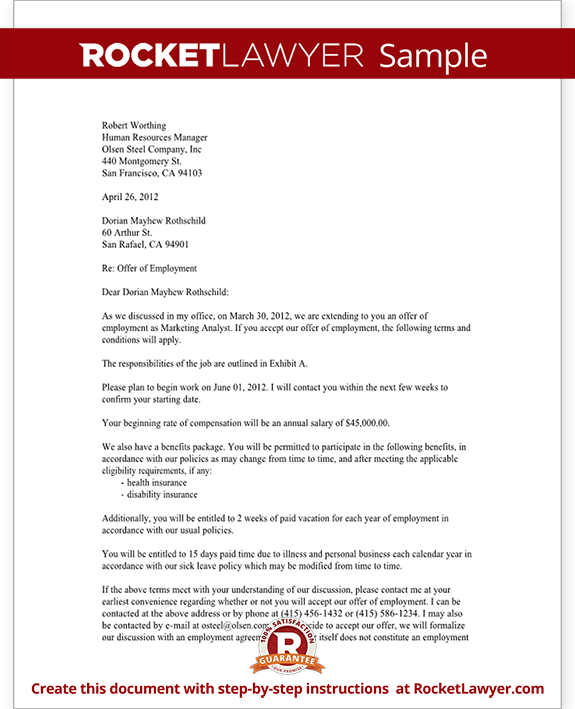 Offer Letter Template 54+ Free Word, PDF Format | Free & Premium