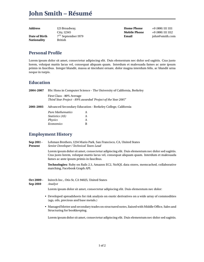 Resume Template Mit  Latex Template Resume