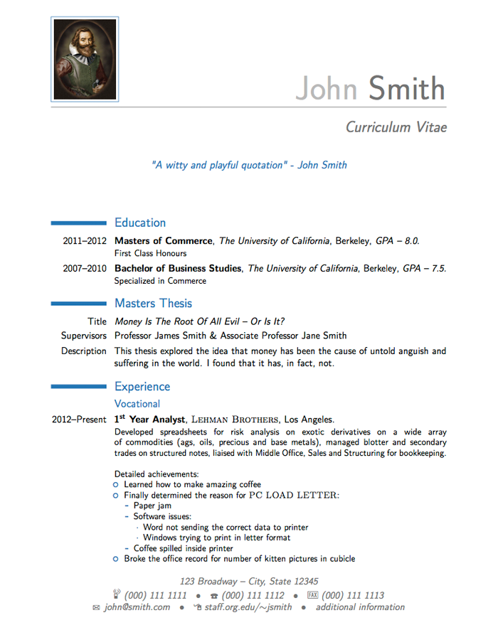 latex cv template mit