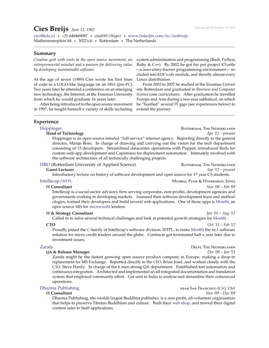 Cies Breijs Resume LaTeX Template ShareLaTeX, Online LaTeX Editor